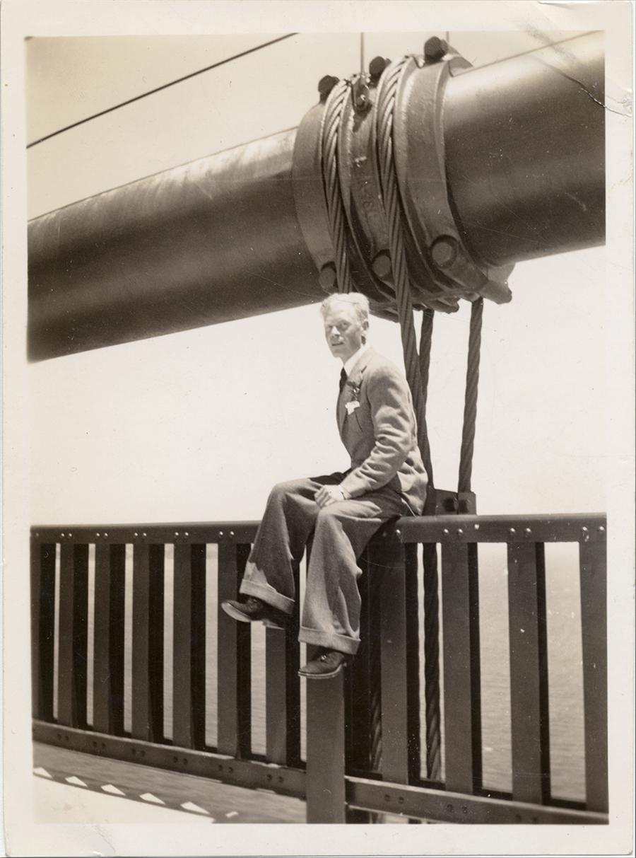 Mendocino County native Andrew Tahja on the Golden Gate Bridge on Pedestrians' Day, 1937. Courtesy of the Mendocino County Museum